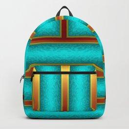 Art Deco Geometric Green and Gold Column Pattern Backpack