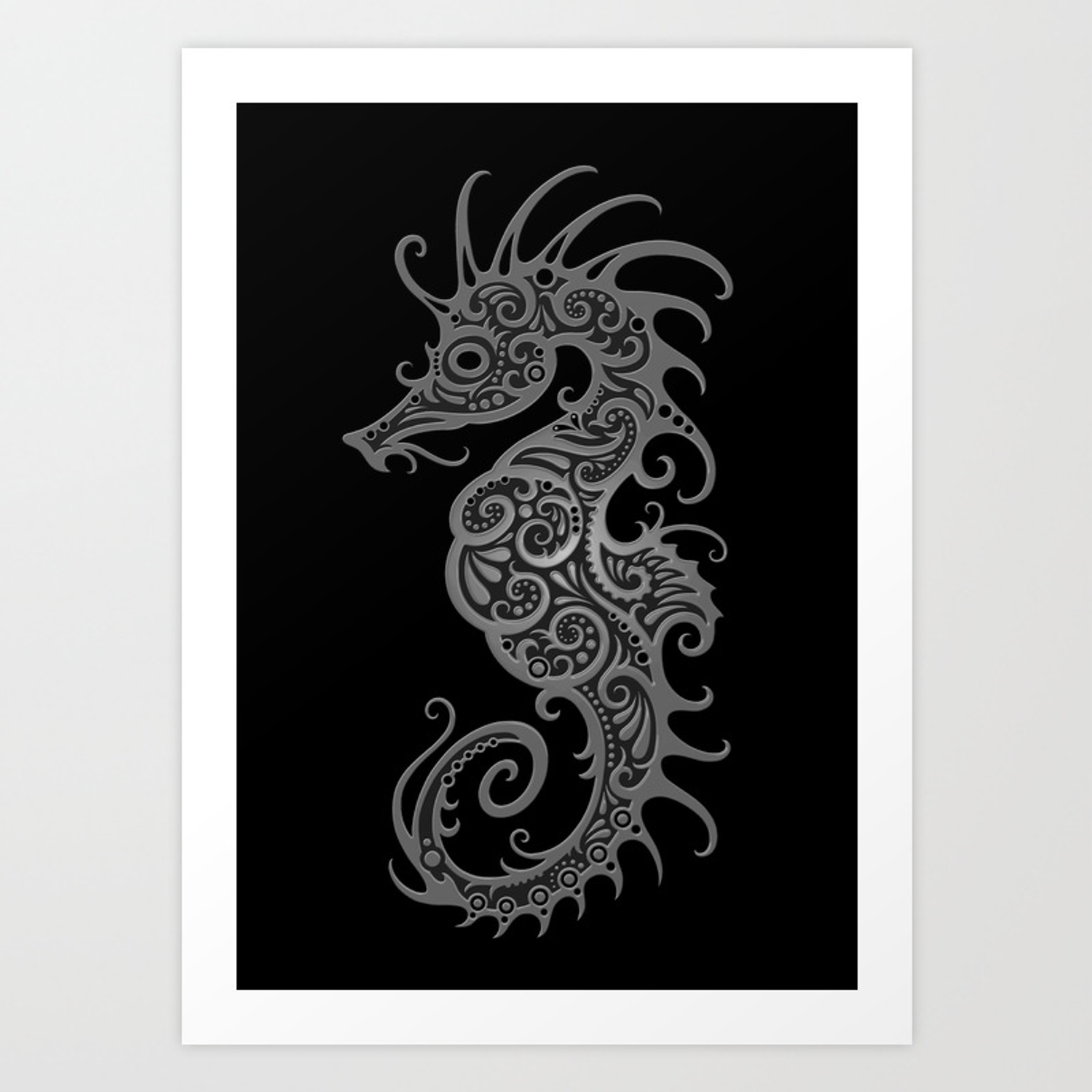 Intricate Gray And Black Tribal Seahorse Design Art Print By Jeffbartels Society6