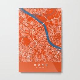 Bonn Map | Germany | Tomato | More Colors Metal Print