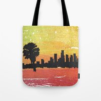 dodgers Tote Bags featuring Sunset Blvd. by Nicko-Suave Art