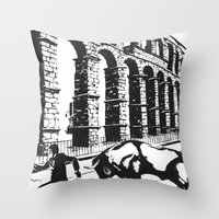 spain Throw Pillows featuring Spain by Carolyn Campbell