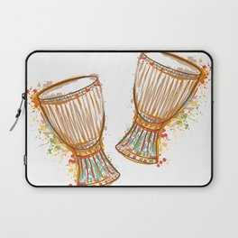 Drums tam tam with splashes in watercolor style Laptop Sleeve