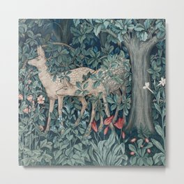 William Morris Forest Deer Greenery Tapestry Metal Print