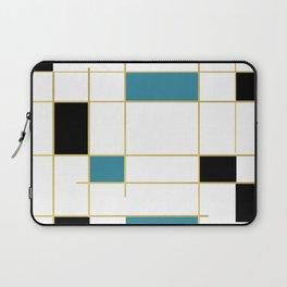 MidCentury Modern Art Aqua Gold Black Laptop Sleeve