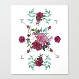 Floral Pattern with Arrows Canvas Print