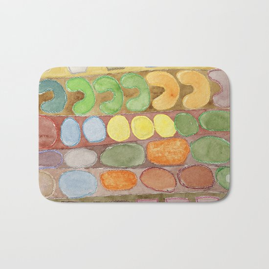 Striped Colorful Pattern with Croissants Bath Mat