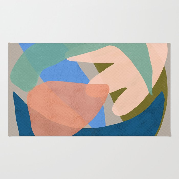 Shapes and Layers no.30 - Large Organic Shapes Blue Pink Green Gray Rug