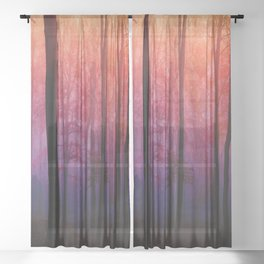 Whispering Woods, Colorful Landscape Art Sheer Curtain