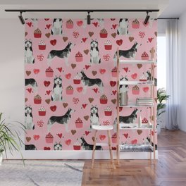 Husky Siberian Huskies dog breed valentines day love pattern print by pet friendly for dog person Wall Mural