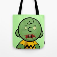 charlie brown Tote Bags featuring Zombie Charlie Brown by rkbr