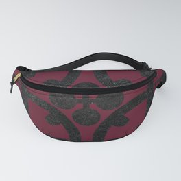 Cherry and black English half-timbered Tudor house pattern Fanny Pack