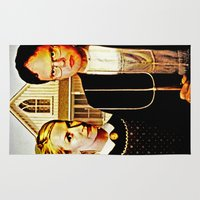 lydia martin Area & Throw Rugs featuring Dwight Schrute & Angela Martin (The Office: American Gothic) by Silvio Ledbetter
