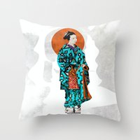 geisha Throw Pillows featuring Geisha by Steve W Schwartz Art