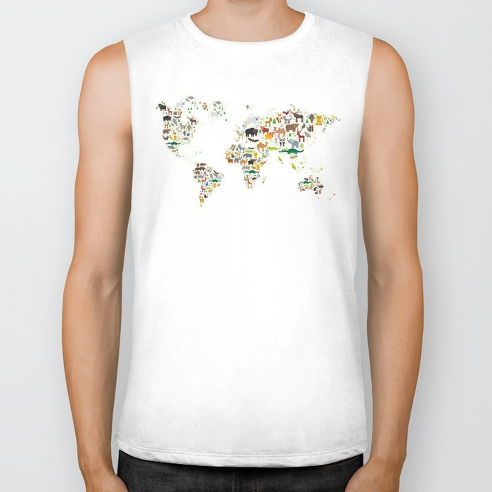 Cartoon animal world map for children and kids, Animals from all over the world on white background Biker Tank