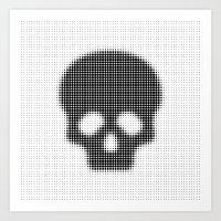 Halftone Skull Art Print