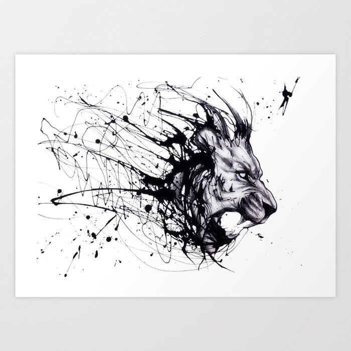 Drip lion Art Print