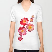 shabby chic V-neck T-shirts featuring Fourth of July Rose Shabby Chic Print by Krystine Kercher