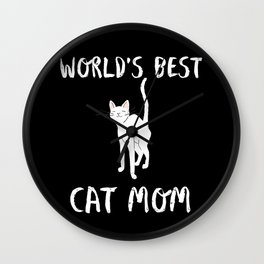 World's Best Cat Mom Cute Animal Typography Art Wall Clock