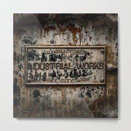 Name Plate Bay City Industrial Works Wreck Crane Train Manufacturer Railroad Rust Metal Print