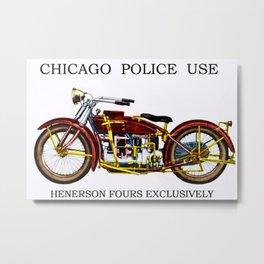 1922 Chicago Police Henderson De Lexe Motorcycle Portrait by Jeanpaul Ferro Metal Print