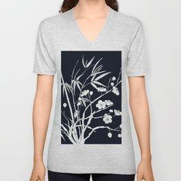 bamboo and plum flower white on black Unisex V-Neck
