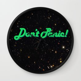 Don't Panic! in Friendly Green Wall Clock