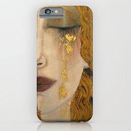 Golden Tears (Freya's Heartache) portrait painting by Gustav Klimt iPhone Case