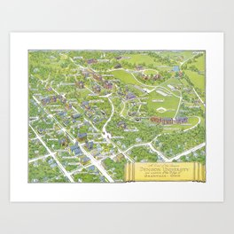 DENISON University map GRANVILLE OHIO Art Print