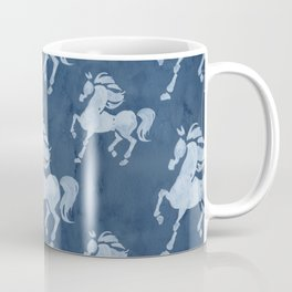 Blue Horses Pattern II Coffee Mug