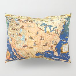 Game Fish Cyclopedia of America Illustrated Map Pillow Sham