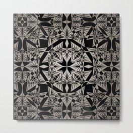 Art Deco 42 Black and gray ornament . Metal Print