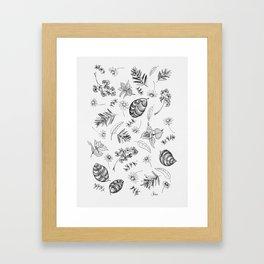 Scattered Garden Herbs, Black and White Framed Art Print