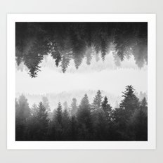 Black and white foggy mirrored forest Art Print