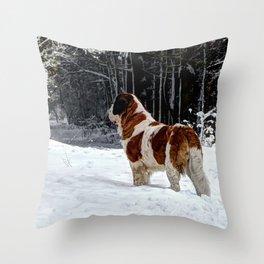 St Bernard in the snow Throw Pillow