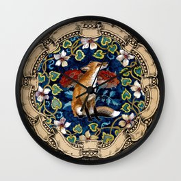 Fox and Flowers Poster Version Wall Clock