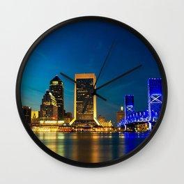 usa jacksonville florida bridge city night Wall Clock