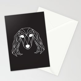 raya goods : lexie the dachshund, white on black Stationery Cards