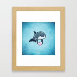 Love Ya! ~ Baby Dolphin by Amber Marine ~ Blue ~ (Copyright 2014) Framed Art Print