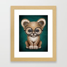 Cute Baby Lion Cub Wearing Glasses on Blue Framed Art Print