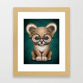 Cute Baby Lion Cub Wearing Glasses on Blue Framed Art Print