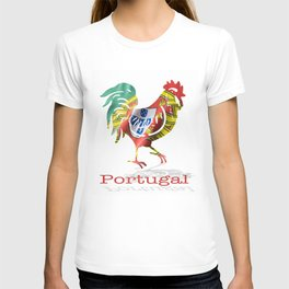 Portuguese waving flag shaped as a rooster on a white background.  T-shirt