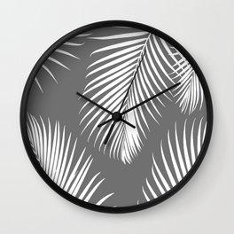 Dark Gray Tropical Pattern Wall Clock