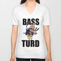 meme V-neck T-shirts featuring BASS TURD MEME GRAPHIC by GENSO
