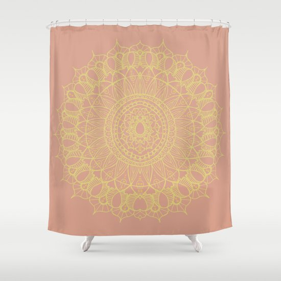 Bohemian Mandala in Rose Gold Shower Curtain