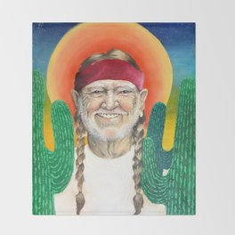 Willie Nelson Sunset Cactus Painting Throw Blanket