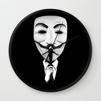 vendetta Wall Clocks featuring vendetta by davidmichel