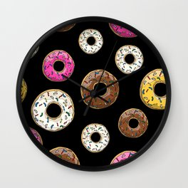 Funfetti Donuts - Black Wall Clock