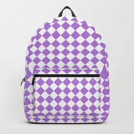 White and Lavender Violet Diamonds Backpack