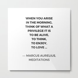 Stoic Inspiration Quotes - Marcus Aurelius Meditations - What a privilege it is to be alive Metal Print