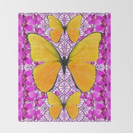 FUCHSIA COLORED  ORCHIDS &  YELLOW  BUTTERFLY FLORAL Throw Blanket